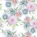 Helder naadloos patroon met bloemen Nam toe Chrysant Pioen De illustratie van de waterverf royalty-vrije stock afbeelding