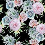Helder naadloos patroon met bloemen Nam toe Chrysant Pioen De illustratie van de waterverf stock foto's