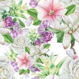 Helder naadloos patroon met bloemen Nam toe lijsterbes succulents De illustratie van de waterverf royalty-vrije stock afbeelding