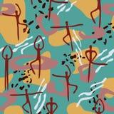 Helder naadloos patroon met lijnen, vlekken, punten en het dansen peop Royalty-vrije Stock Foto
