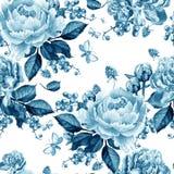 Helder naadloos patroon met pioenbloemen en frambozen vector illustratie