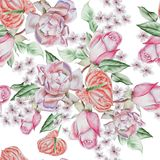 Helder naadloos patroon met rozen De illustratie van de waterverf Royalty-vrije Stock Foto