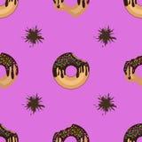 Helder naadloos patroon van donuts en chocoladesmudges stock illustratie