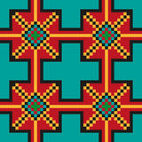 Helder naadloos stikkend patroon op een blauwgroene achtergrond Stock Foto's