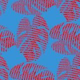 Helder naadloos vectorpatroon met rode tropische bladeren stock foto's