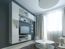 Helder ontwerp van moderne zitkamer met wit meubilair Stock Afbeeldingen