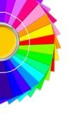 Helder palet van kleuren en open tinblik Stock Foto
