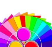 Helder palet van kleuren en open tinblik Stock Afbeeldingen