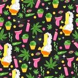 Helder patroon met cannabis, marihuana, cupcakes, rook, aansteker, glimlach stock illustratie