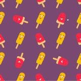 Helder patroon met grappig het glimlachen roomijs Stock Foto