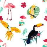 Helder patroon met toekan, papegaai, flamingo en cocktail Kan voor het verpakken, envelopdocument, textiel worden gebruikt Stock Foto