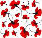 Helder rood hartstochtelijk de bloempatroon van de valentijnskaartpapaver op witte achtergrond Symbool van wilde schoonheid, lief Royalty-vrije Stock Fotografie