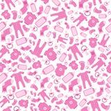 Helder roze vectorbaby geboren naadloos patroon stock illustratie
