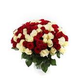 Helder rozenboeket op wit Stock Foto