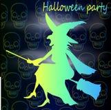 Helder silhouet van neonheks Halloween Zwart-witte EPS8 naadloze vector Stock Fotografie