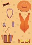 Helder strand dat voor vrouw wordt geplaatst. royalty-vrije illustratie