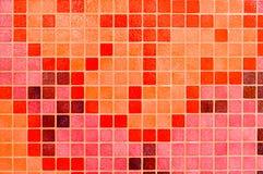 Helder textuur ceramisch abstract mozaïek, rood, roze, Bourgondië, marsala, met de hand gemaakte keurige vierkante vorm decoratie Royalty-vrije Stock Afbeeldingen