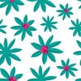 Helder Tropisch die Patroon door Installaties en Roze Fruit wordt gemaakt stock illustratie