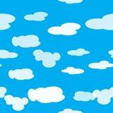 Helder vector naadloos patroon van wolken in de lichtblauwe hemel Royalty-vrije Stock Fotografie