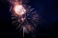 Helder vuurwerk in de nachthemel royalty-vrije stock fotografie