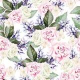 Helder waterverf naadloos patroon met bloemenrozen, lavendel vector illustratie