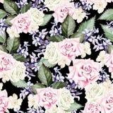 Helder waterverf naadloos patroon met bloemenrozen, lavendel stock illustratie