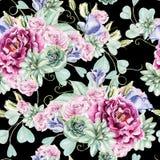 Helder waterverf naadloos patroon met bloemenrozen, pioen, succulents, Eustoma en eucalyptus stock illustratie