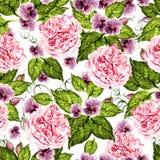 Helder waterverf naadloos patroon met pioen, rozen en violette bloemen stock illustratie