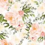 Helder waterverf naadloos patroon met pioenbloemen en hibiscus royalty-vrije illustratie