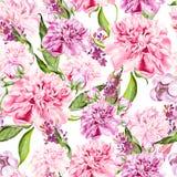 Helder waterverf naadloos patroon met pioenbloemen stock illustratie