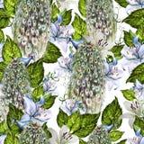 Helder waterverf naadloos patroon met wisteria en leliebloemen, pauwvogel royalty-vrije illustratie
