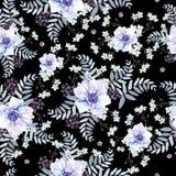 Helder waterverfpatroon met anemoonbloemen, bes en bladeren stock illustratie