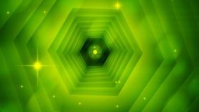 Heldere abstracte hexagon tunnel met fonkelingen, 3d teruggevende achtergrond, geproduceerde computer stock illustratie