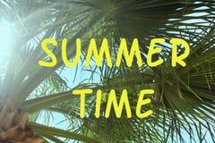 Heldere achtergrond met de tijd van de inschrijvingszomer Groene takken van een palm Een foto met een gloed van de zon royalty-vrije stock afbeeldingen
