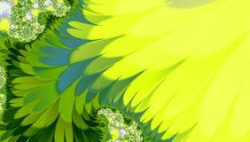 Heldere achtergrond met golvende gele en groene haarvormen, tropisch abstract beeldpatroon voor banner, kaart, textiel Stock Afbeeldingen