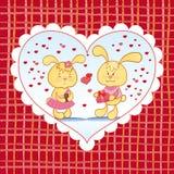 Heldere achtergrond met harten en konijntjes Stock Foto's
