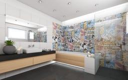 Heldere Badkamers met Candels Stock Foto's