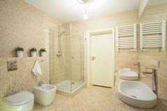 Heldere badkamers met douche Stock Foto