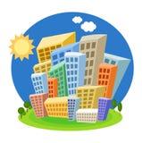 Heldere beeldverhaalhuizen op een blauwe achtergrond Royalty-vrije Stock Foto