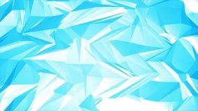 Heldere blauwe abstracte 3d veelhoekige vormen videoanimatie stock video
