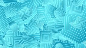 Heldere blauwe abstracte geometrische vormen videoanimatie stock illustratie