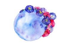 Heldere blauwe en rode bloemen rond de blauwe aarde Abstracte die waterverfillustratie op witte achtergrond wordt geïsoleerd stock illustratie