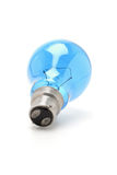 Heldere blauwe wolfram gloeilamp royalty-vrije stock afbeeldingen
