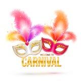 Heldere Carnaval-maskers met veren en gouden Stock Afbeelding