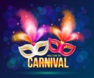 Heldere Carnaval-maskers op donkerblauwe achtergrond Stock Afbeelding