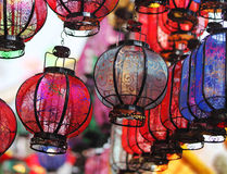 Heldere Chinese lantaarns Stock Foto's