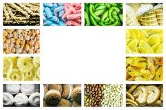Heldere collage van multicolored suikergoed van geleibonen, zoete droge vruchten en verse zoete gebakjes royalty-vrije stock foto's