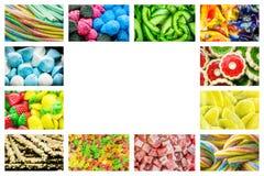 Heldere collage van multicolored suikergoed van geleibonen, zoete droge vruchten en verse zoete gebakjes royalty-vrije stock afbeeldingen