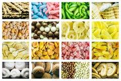 Heldere collage van multicolored suikergoed van geleibonen, zoete droge vruchten en verse zoete gebakjes royalty-vrije stock afbeelding