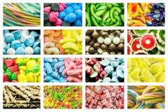Heldere collage van multicolored suikergoed van geleibonen, zoete droge vruchten en verse zoete gebakjes stock foto